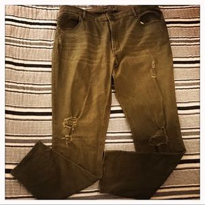Express Olive Green High Rise Ripped Jean Legging